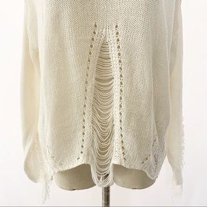 Andrea Sweaters - Andrea Scoop Neck Distressed Knit Sweater Cream